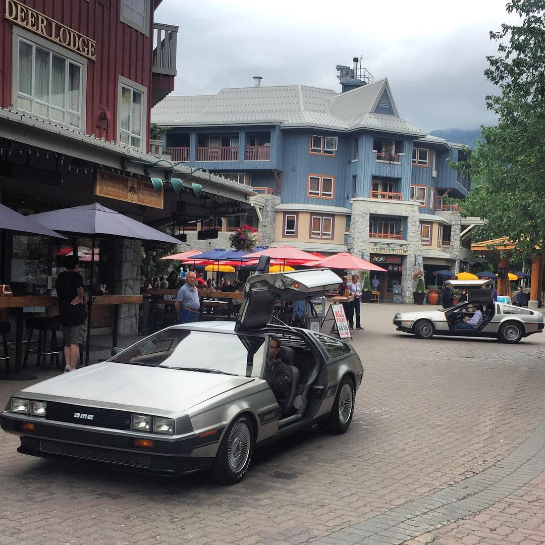 Back to the future here in Whistler. #delorian #avalon7 #futurepositiv www.avalon7.co