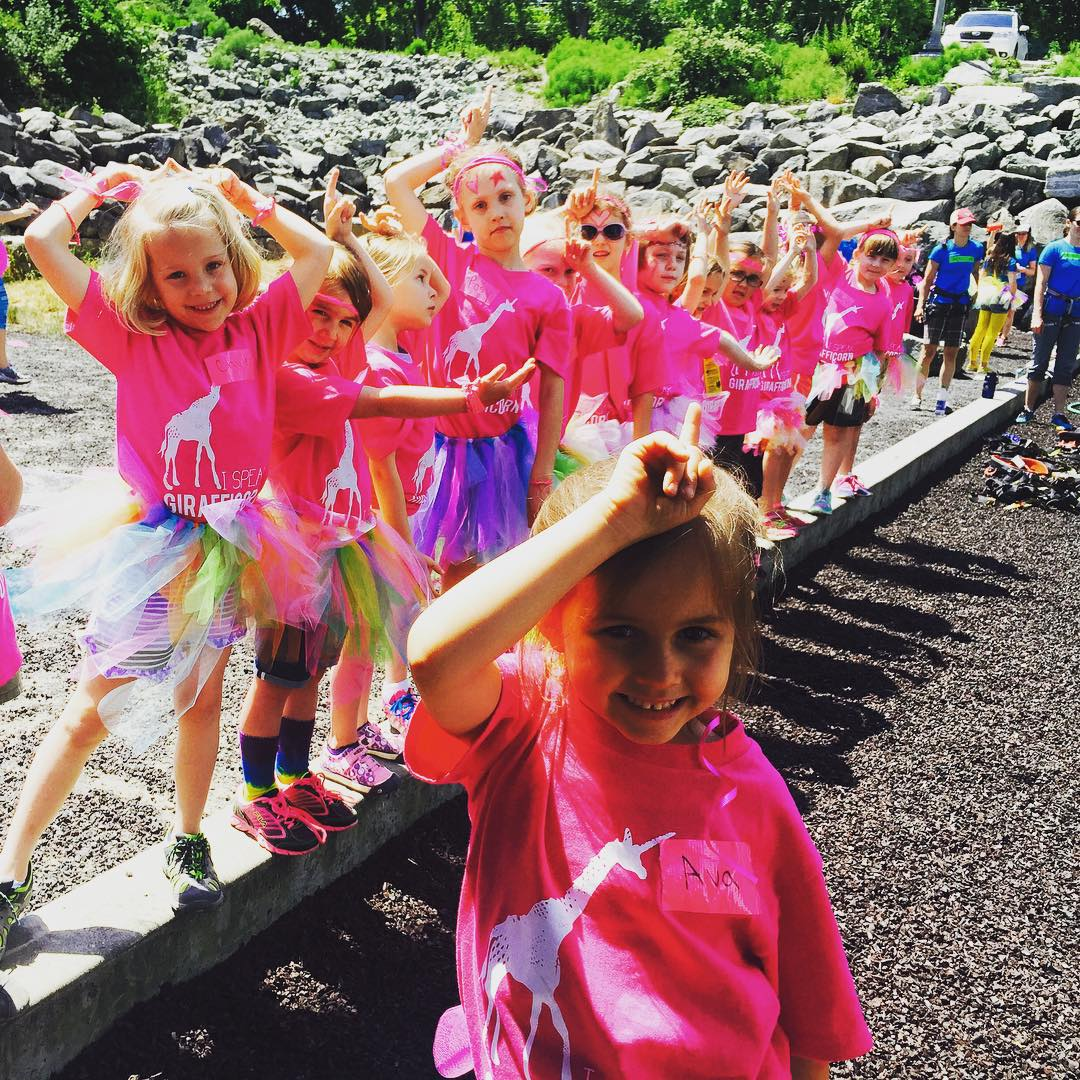 If #mondaymotivation is hard for you, do what these little #girafficorn girls do and just put your #unicorn horn on! Show us your #spiritanimal | #girafficornnation #iamsj #wildskills #shejumps @mountaineersorg