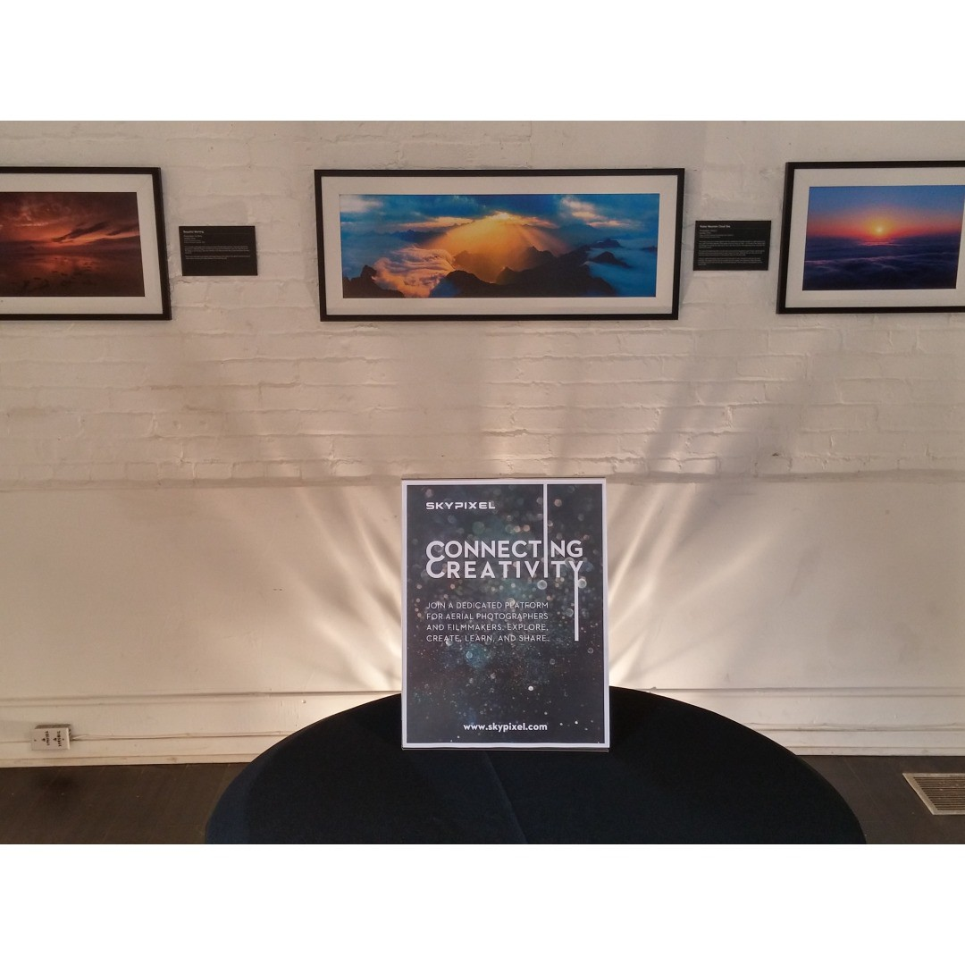 #SkyPixelSF is now open for viewing! Make your way down to see some of the best #aerial shots from famous photographers all arond the world.  Don't forget to also bid for your favourite print to help @makeawishamerica during the silent auction....