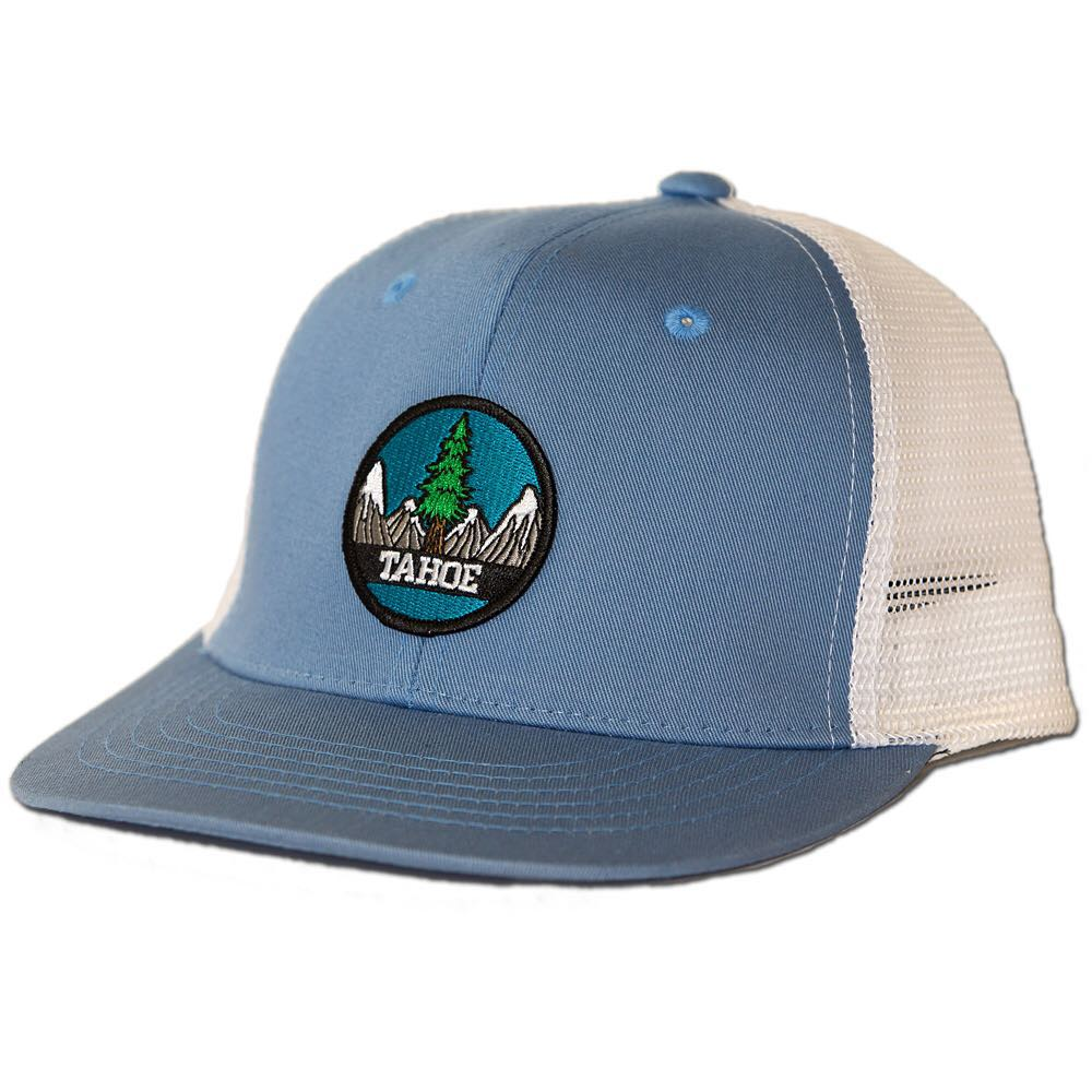 New Tahoe hat with a Pine Tree patch. Several color to choose from. Smaller fit for the ladies and youths. #truckerhat #risedesigns