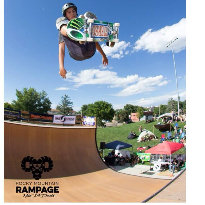 Here's rad one of @austin_poynter  at #RockyMountainRampage last weekend . Austin wears the S1 Lifer Helmet. #ollie #skatevert #austinpoynter #s1helmets #trustedbythepros