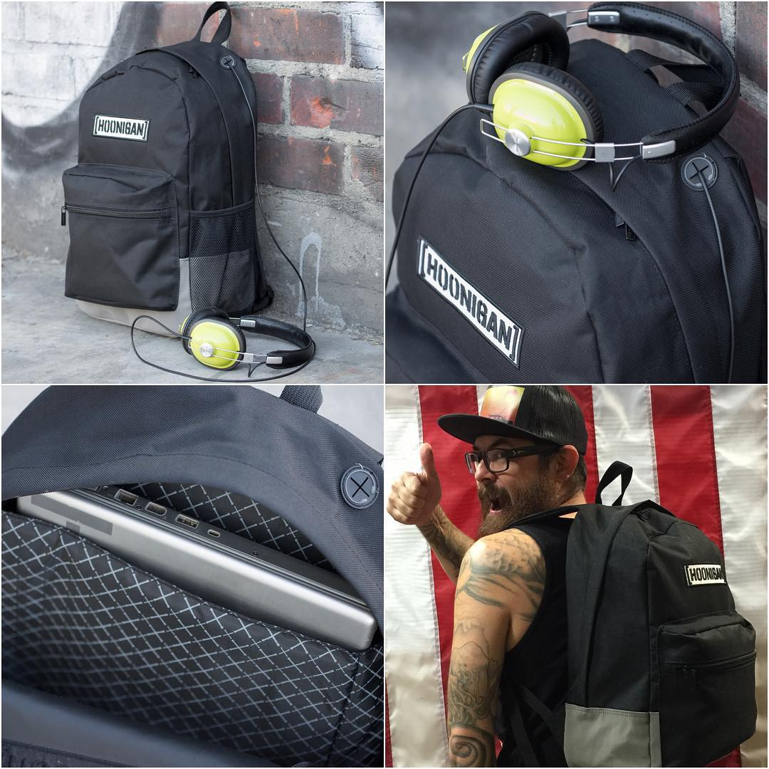 The Standard Issue Hoonigan laptop backpack, available to #HNGNloyaltysquad members on Hoonigan.com and can also be found at @zumiez.