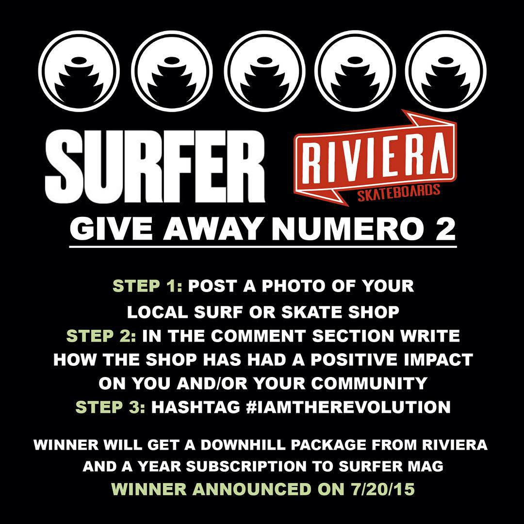 We are doing it again - this time should be even better.  Directions are in the image, follow them for your shot at a downhill setup and a subscription to @surfer_magazine.  Thanks for helping organize this...