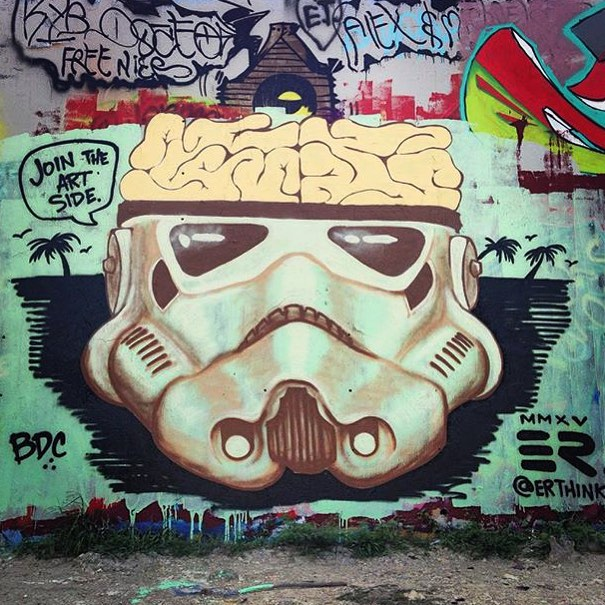 @erthink #bdc • • Join the Art Side. • • #texas #tx #er #streeart #mural #starwars #stormtrooper #spratx #art