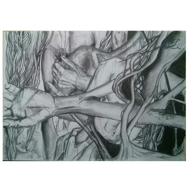 Noche de verano. 50x70 cm. #art #arte #dibujo #draw #disegno #drawing #bodies #body #corpi  #iloveit #sinfiltro #instaart #blackandwhite