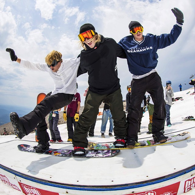 In case you missed the #LTCPsychoSession this past week up at @highcascade this photo pretty much sums up the good times. Dragon team riders @blakepaul and @shoeburt link up with olympic bad boy @sagekotsenburg for some disco box dance moves!