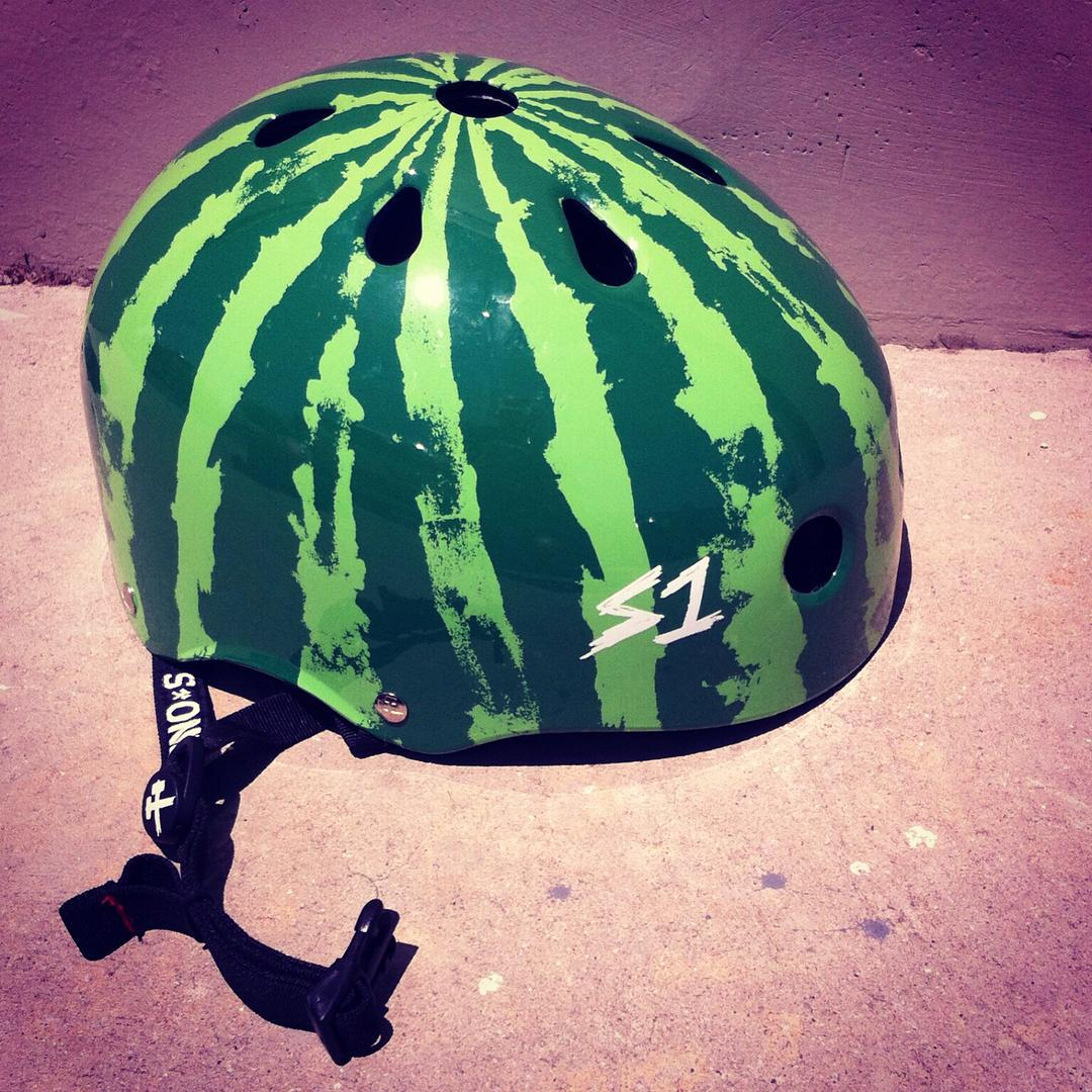 S1 Lifer Helmet x @skatehousemedia watermelon collab back in stock now! #watermelon #helmet #protectyourmelon #s1lifer #s1helmets ask your #localskateshop !