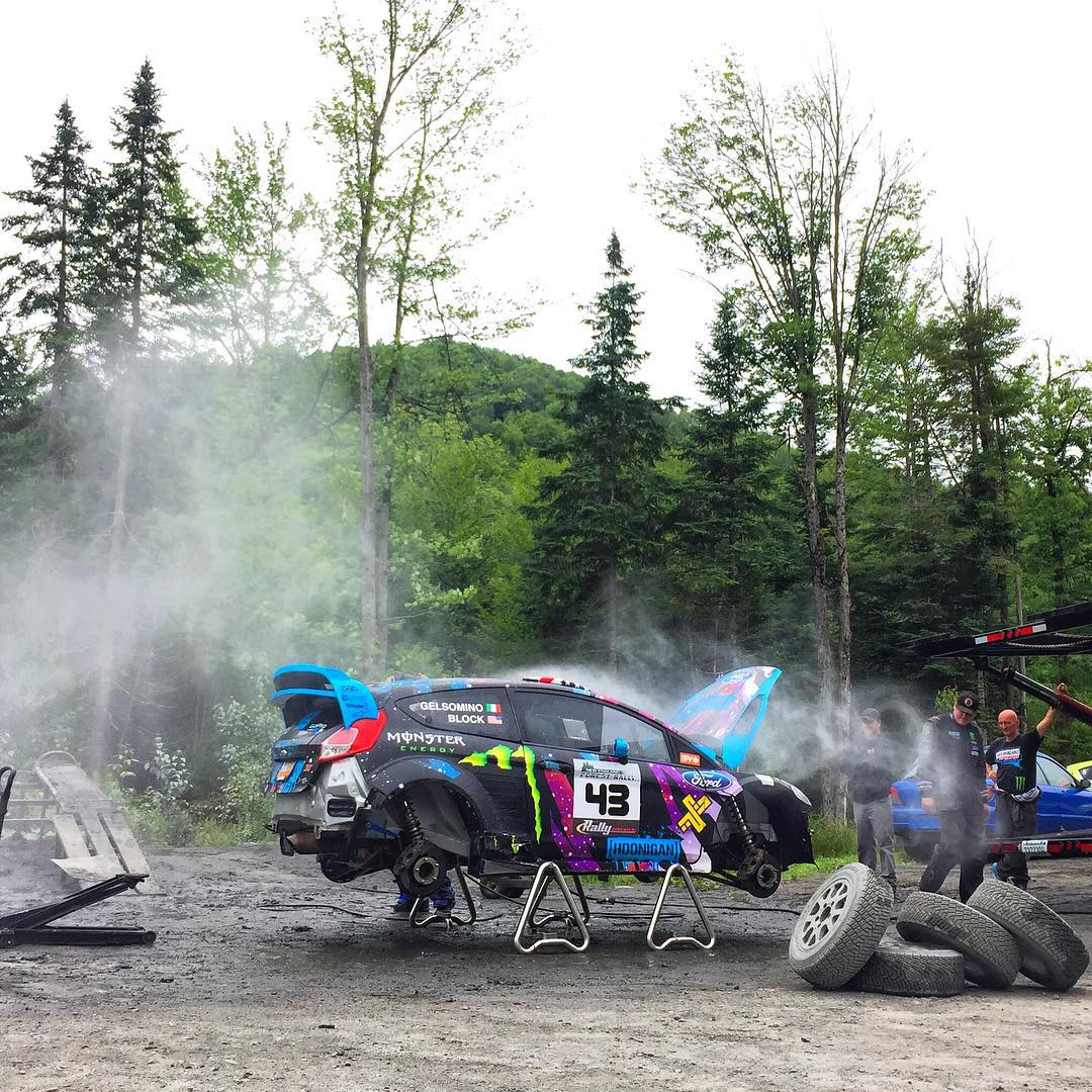 A well-deserved end of day bath for my Ford Fiesta HFHV here at the @TeamOneil Rally School. Stoked to be back in this car - and ready for the New England Forest Rally this weekend! #iheartrally#FordFiesta