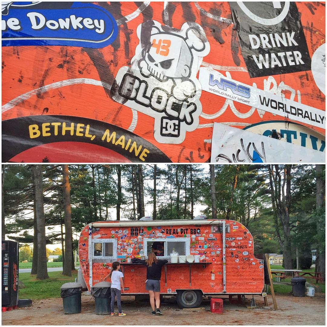 Arrived in Bethel, Maine this evening (where the base of the rally is, around Sunday River Resort) and found this awesome BBQ food trailer: Smokin' Good BBQ, featuring one of my #BlockSkull logo stickers gracing the outside wall. Nice. And, very good...