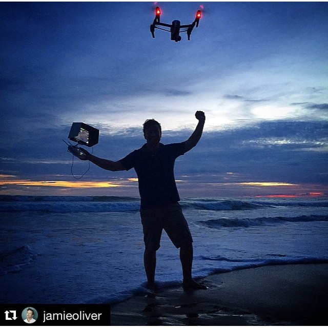 I have the power!  Check out @jamieoliver enjoying his #DJI #inspire1 this #inspireThursday.  #dronesaregood #IamDJI