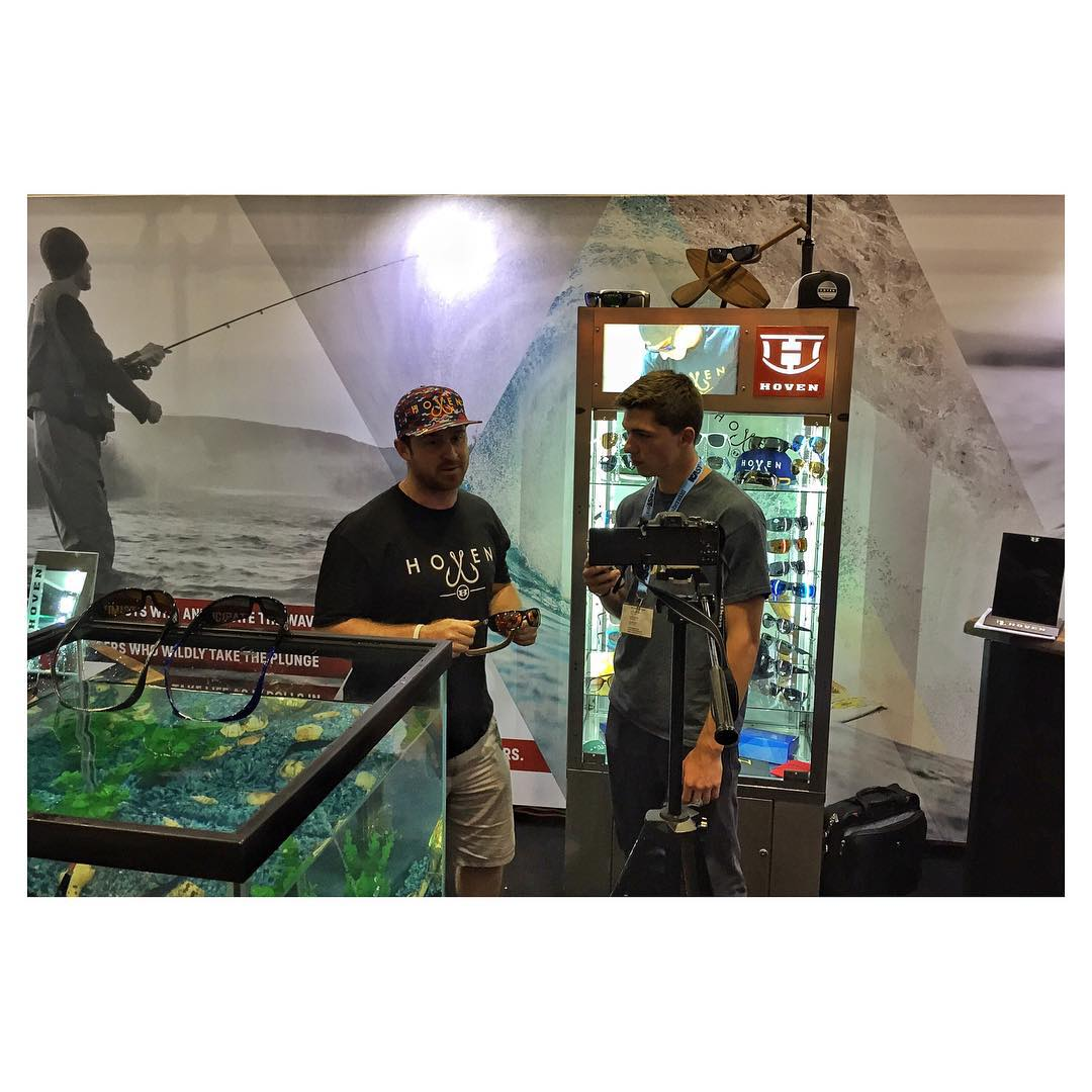 Day 2- Hoven is live at iCast 2015 in Oralndo... Literally. Our good friend Jon doing a @youtube video with @conorcoleman22 about the hottest floatable sunglasses, The Argonaut Series. We are hookin everyone in