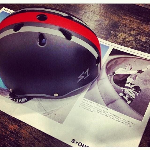 Regram @eddieelguera 's S1 x El Gato #helmet @palmsprings_skatepark. #skateboarding .