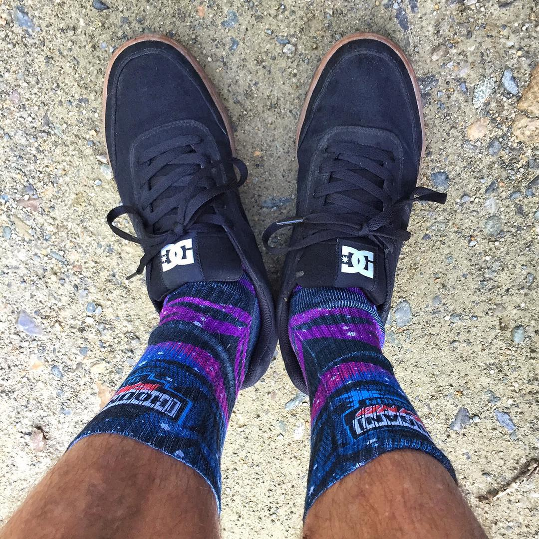 "Today's socks/kicks combo of the day: @TheHoonigans' Hoonigan Racing Division ""intergalactic"" livery socks, paired with @DCShoes Cue TX model shoes. I like. #intergalacticsocks #SOTD #KOTD #reccesetup"