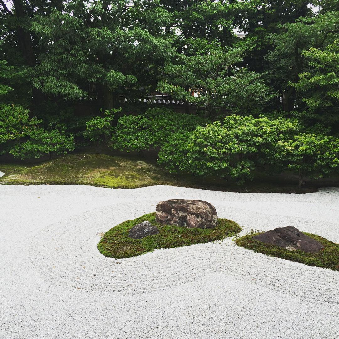 """You can not find peace by avoiding life"" - Virginia Woolf.  Let's explore: Found a beautiful Zen garden in Kyoto, Japan. #travel #peace #garden #love #friendship"