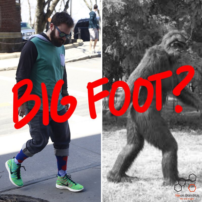 We have a confirmed sighting of #BigFoot and he was able to #grabapair #asseenon #nicebeard #freshkicks #style #brolife #wearebright #sockgame