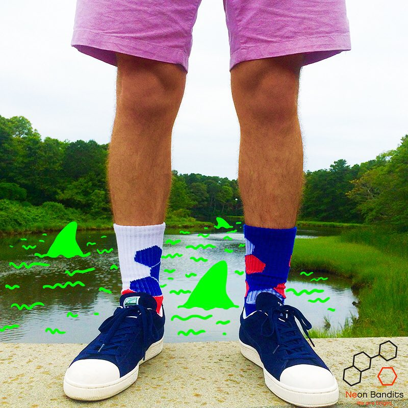 Avoid being trapped in the mouth of #jaws and #grabapair #sharkweek #sharknado #water #chompchomp #socks #swimfast #wearebright