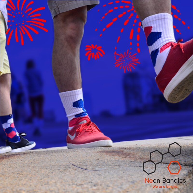 Be bright on the #4th #happy4th #redwhiteandblue #fireworks #patriotism #boston #neon #grabapair #america #wearebright