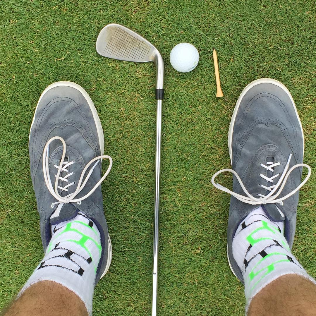 Breaking out the #neonbandits on the #golf course. #par #brolife #holidayweekend #grabapair #america #ironman #wearebright