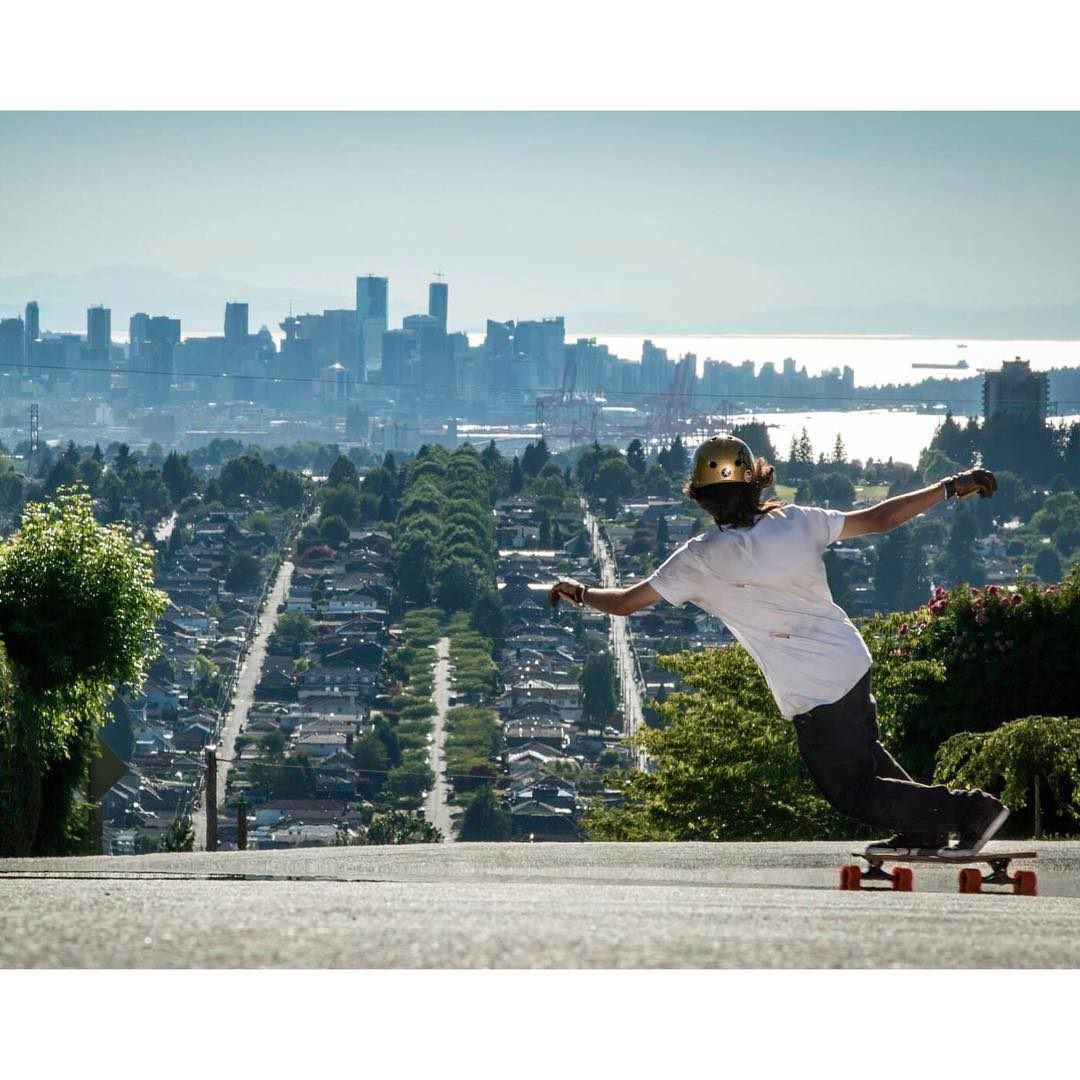 Team rider @sho_ouellette keeps it super stylish while enjoying this awesome view of beautiful #Vancouver, BC.