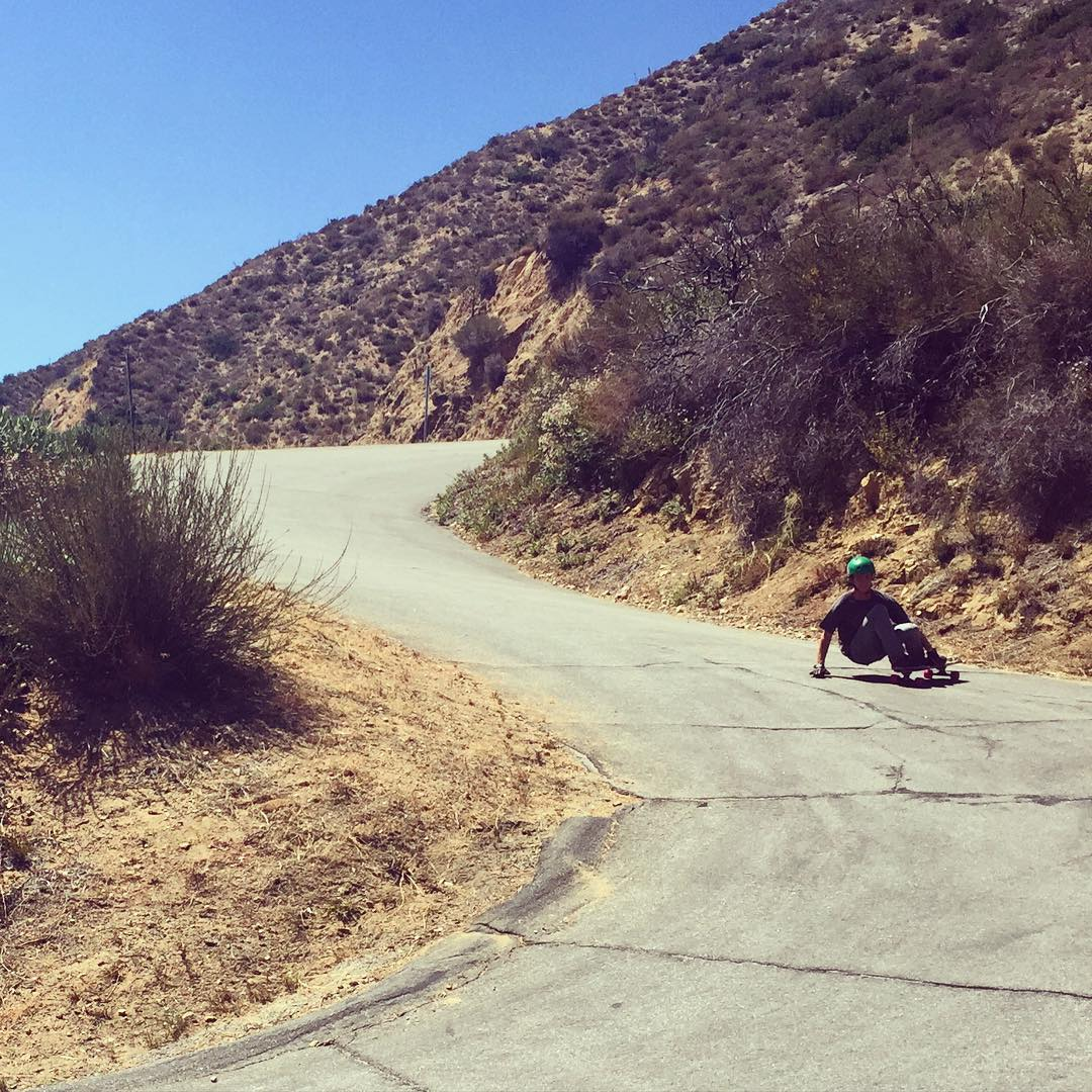 The Schupacabra battles the heat and chunder out in the hills of LA. #timeshipracing #skateriviera #divinewheelco #ragdolls #gloveyoulongtime #paristrucks