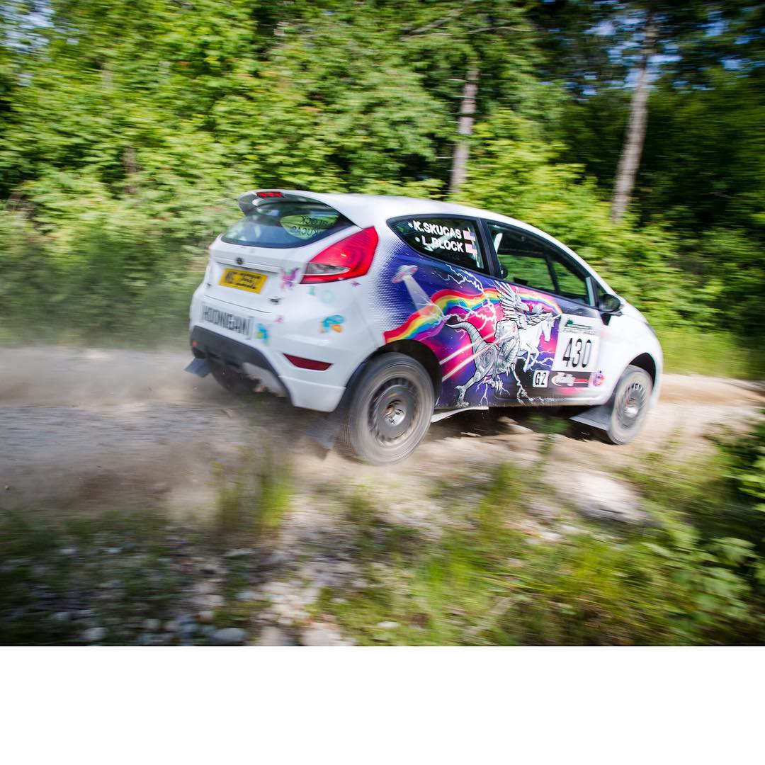 So rad to see my wife flying around the same stage roads I'm racing on here in the @rallyamericaseries New England Forest Rally! She's been having a blast in her intergalactic robot dinosaur UFO lightning rainbow Ford Fiesta R2. Ha. If you see her on...
