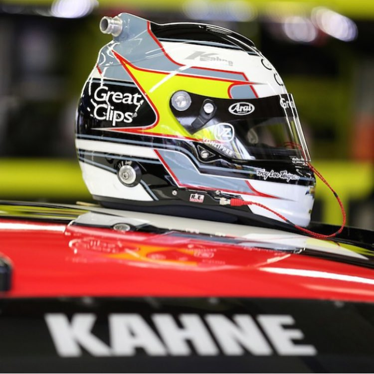 @kaseykahne with a new lid and no worries, gearing up for race day tomorrow. #repost @nascar