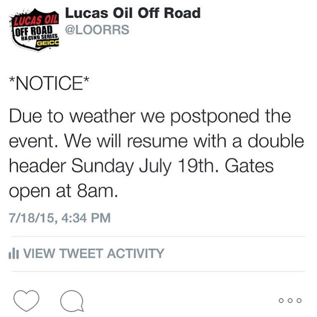 Update. Races cancelled due to the rain. Gates now open at 8 am tomorrow. First races start at 10 am. @lucasoiloffroad #glenhelen #loorrs #deegan38