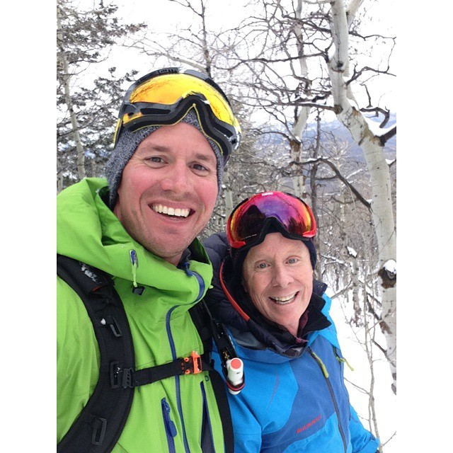 All smiles with 4FRNT's founder @matt_sterbenz and Pocatello's @barriesskiandsports founder Barry Hunt, up @pebblecreekskiarea. Support your local 4FRNT retailer. #riderowned #shapingskiing