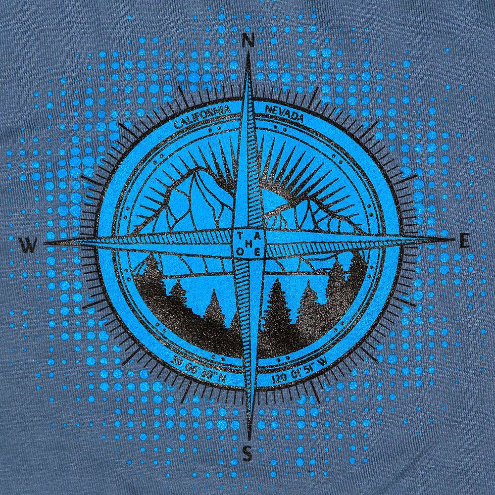 The Tahoe Compass. 2 color screen print on a lake blue tshirt. #mountains #compass #tshirt #tahoe #risedesigns