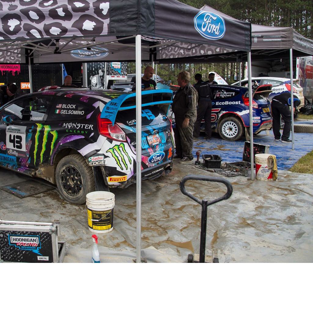 Nice view of the three different spec Ford Fiestas in our @HooniganRacing service area this past Saturday at the New England Forest Rally. From left to right: my HFHV, the M-Sport R5 2 liter, and the new M-Sport R2 1 liter turbo. #FiestaFiestaFiesta...