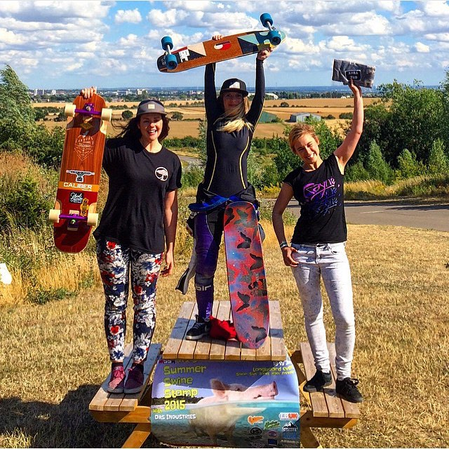 Yesterday in UK!  #SummerSwineStomp2015 in #Hoghill Women Podium: 1. @stilettochillz  2. @lynders  3. April from @shoveitmag  Shoutout to @ballerignar for taking 3rd in Freestyle!  Congrats ladies! Repost from @arborcollectiveuk .  #longboardgirlscrew...