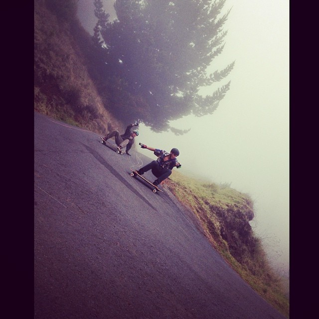 @tyler_howell_sb and @radzani surfing volcanic asphalt lines together on their #hawaiisucksdonttryit trip! #calibertrucks