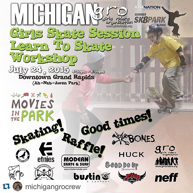 We are heading out to Grand Rapids, MI Friday, July 24th and will be hosting a GRO girls skate session and learn to skate workshop at @aganation 's summer skate park series!!! Come on out and join the shred