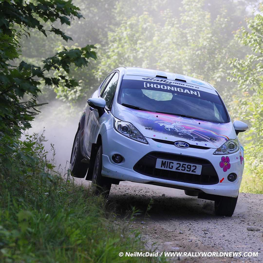 """My wife has finished another @rallyAmericaSeries rally in her """"space unicorn robot dinosaur rainbow UFO"""" edition Ford Fiesta R2. Not only is she the supermom to our kids, but she's my super wife who can race rally too. So stoked to see her in a rally..."""