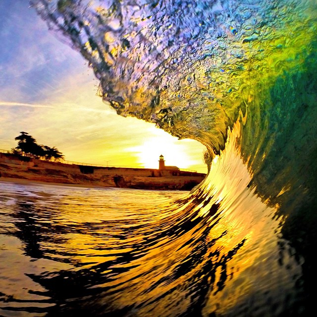 Sunrise at Lighthouse Point Park in Santa Cruz, California. Photo: @avg.surfer #gopro #gopole #gopoleevo #shorebreak #santacruz