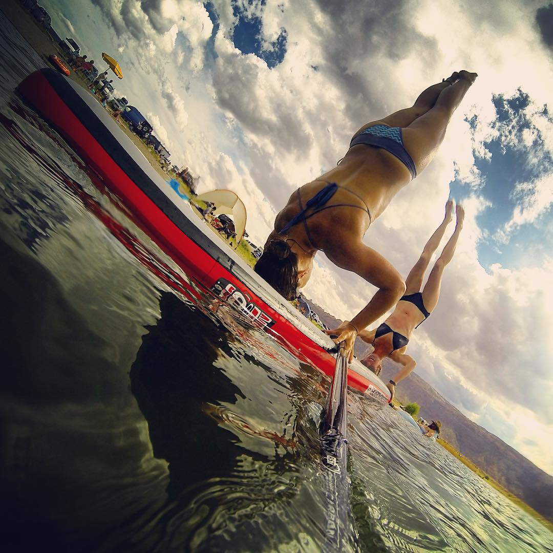 Double it UP on the SUP. @boardworkssurfsup #welivewater @localhoneydesigns #outdoorbella #theweeklyinsta