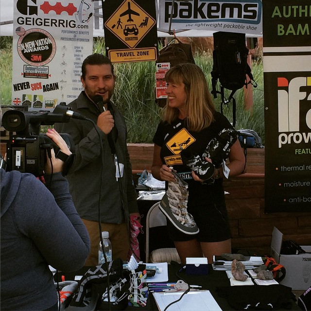 Pakems founder Julie Adams being interviewed at Fitness on the Rocks. #fitness #redrocks #bekind #fitnessontherocks2015