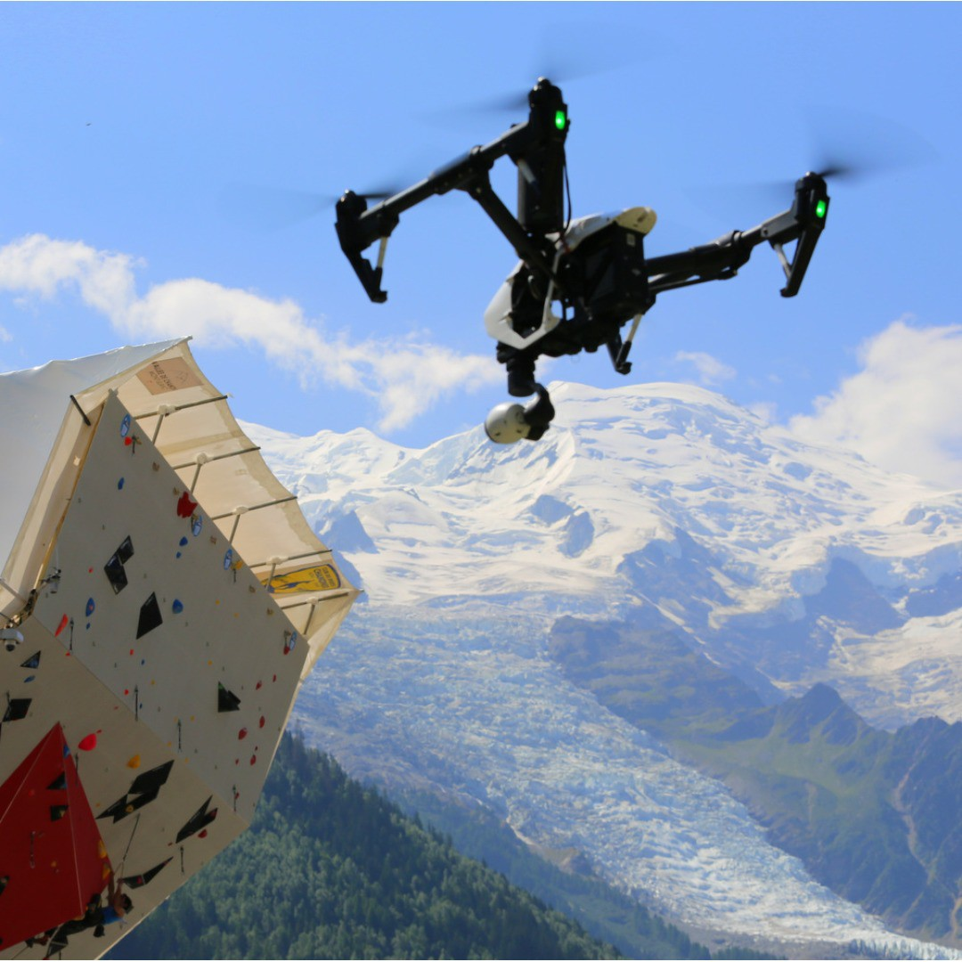 Now, that's what we call a view! #DJI was part of IFSC 2015 Climbing World Cup in Chamonix, France, where DJI's #Inspire1 was capturing elite rock climbers from a completely new perspective in front of the Mont Blanc massif.