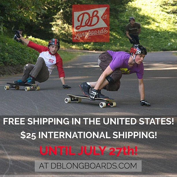 We are now offering free shipping in the United States and $25 International Shipping until July 27th at DBlongboards.com! #longboard #longboarding #longboarder #dblongboards #goskate #shred #rad #stoked #skateboard #skateeveryday