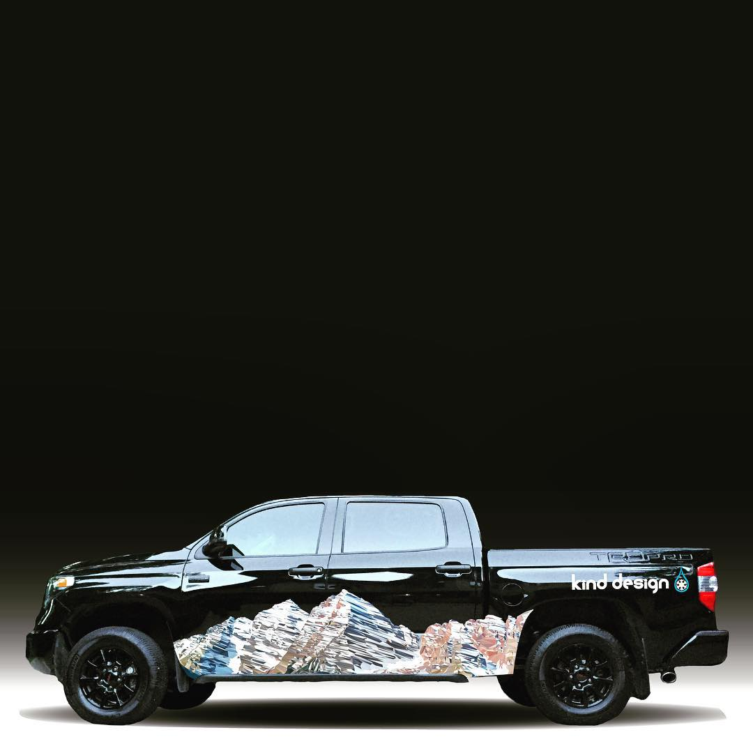 Working on some concepts for the new Kind Design truck... feedback is welcome! #kinddesign #maroonbells #colorado #polyrado #kindtruck #madeinUSA #merica #trucklife #vehiclewrap #toyota #tundra #trdpro #art #design #vector #liveyourdream