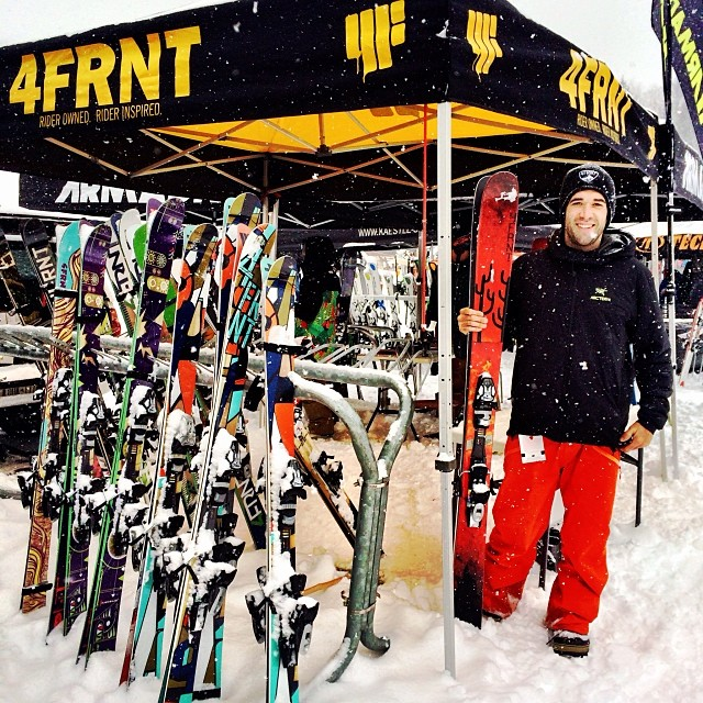 Lovely day for a demo @strattonresort.  Our New England rep, Mike Trioli holding down the fort with the all new #4FRNT #Gaucho east coast crusher. #LetItSnow #riderowned #4F #4frntskis