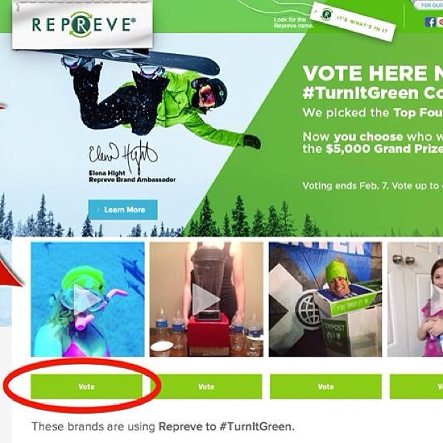 "Help @alisonsadventures and I win the #turnitgreen contest! Just click ""vote"" on the first video. Link is on my profile. ;-) #gogreen @repreve #sp"