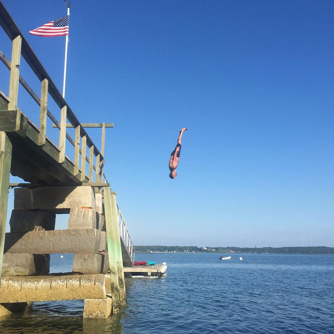 Private island in Maine with a private dock? Yep. Perfect for aquatic exercises, like flips. Lots of flips. #Blockflip #flippingout #islandgetaway