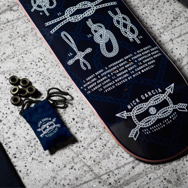 """The harder you work, the luckier you get."" Inroducing the @nick_garcia collection from Element, which includes the ""Knotical"" board in 8.3, custom bearings, two tee's and a pair of pants designed and tested by Nick Garcia. Head to your local skate..."