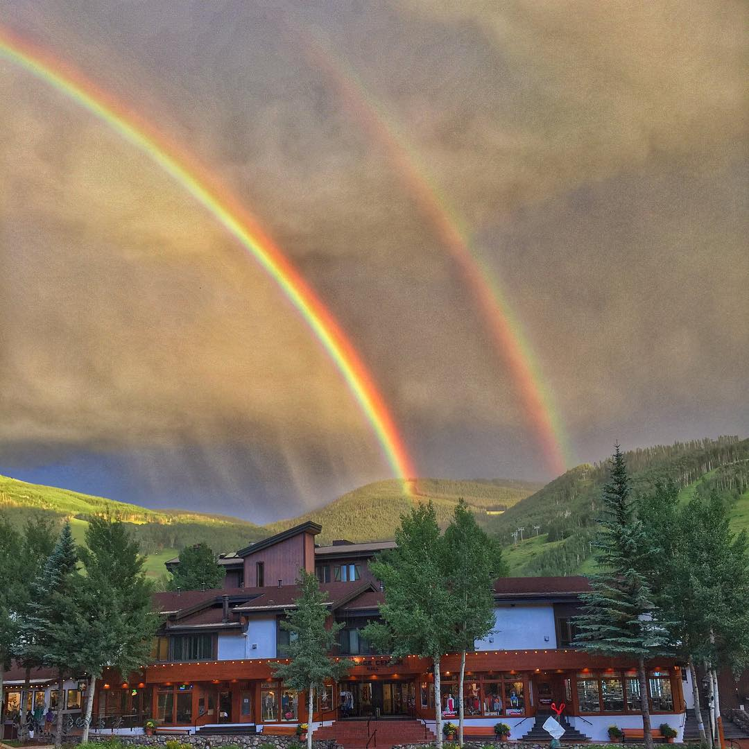 The Vail rainbow came out in full force tonight over the top of Chair 4! #coloradopics #summertime #rainbows