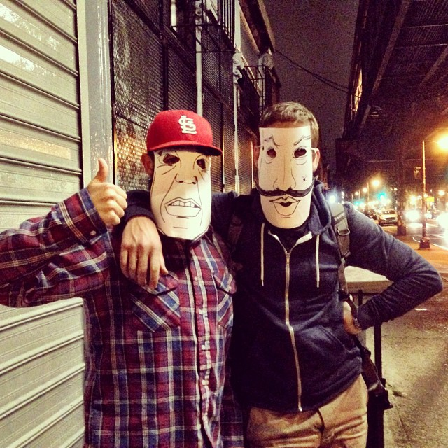 Adam and Peter from the #peakdesign team sporting makeshift #Halloween costumes in #Williamsburg. Definitely creeped some folks out that night.