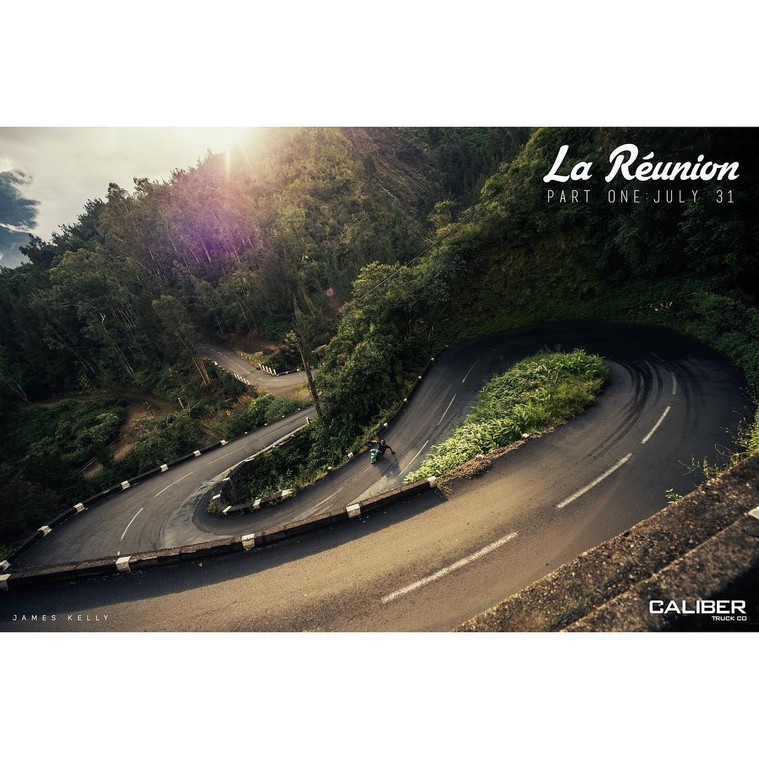@jameskelly_shm sliding through a patchy set of hairpins while shooting for our newest project #LaReunion  The first of three episodes will drop July 31st, so don't miss out!  #CaliberPrecision #PartOne #RoadPorn