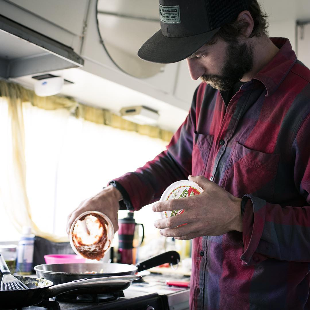 PHGB athlete and omelette connoisseur, @codybbarnhill works on a proper breakfast in #harveytherv @idaho_basecamp. Check out the link in our bio for a new video on his involvement with non-profit partner, Idaho Basecamp.