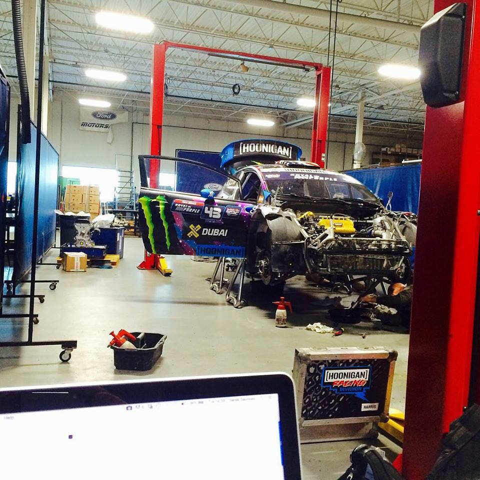 Regram from @HooniganRacing Team Director @DerekDauncey. The Roush Industries /@FordPerformance workshop in the Detroit area is this week's race prep facility before #GlobalRallycross Detroit this weekend. Nice view in front of Derek's laptop!...