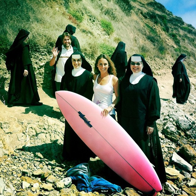 A while ago I was on a beach in Southern California doing a photoshoot for @odinasurf eco bikinis and I was mid shoot, in a bikini, sprawled over a rock, when out of the corner of my eye I saw a huge group of nuns headed my way. My first thought was...
